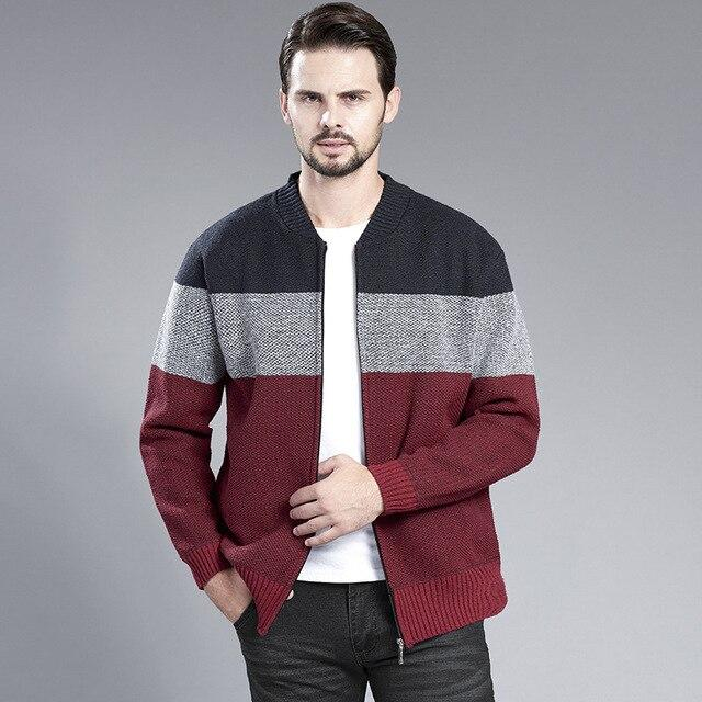 Thoshine Brand Spring Fall Winter Men Thick Sweatercoats Fleece Knitted Jackets Patchwork Cardigan Outwear Sweater coat Knitwear - Olanquan's Fashion Boutiques