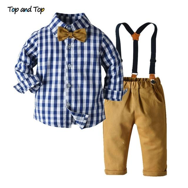 Top and Top Boys Clothing Sets Springs Autumn New Kids Boys Long Sleeve Plaid Bowtie Tops+Suspender Pants Casual Clothes Outfit - Olanquan Fashion Boutique