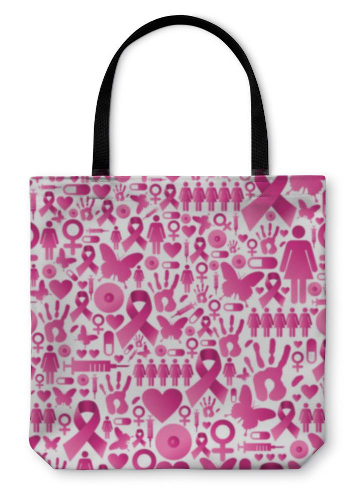 Tote Bag, Breast Cancer Awareness Pattern - Olanquan's Fashion Boutiques