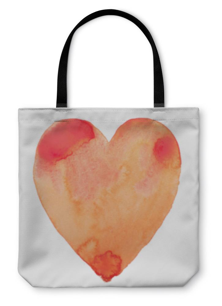 Tote Bag, Hand Draw Watercolor Aquarelle Art Paint Love Red Heart - Olanquan's Fashion Boutiques