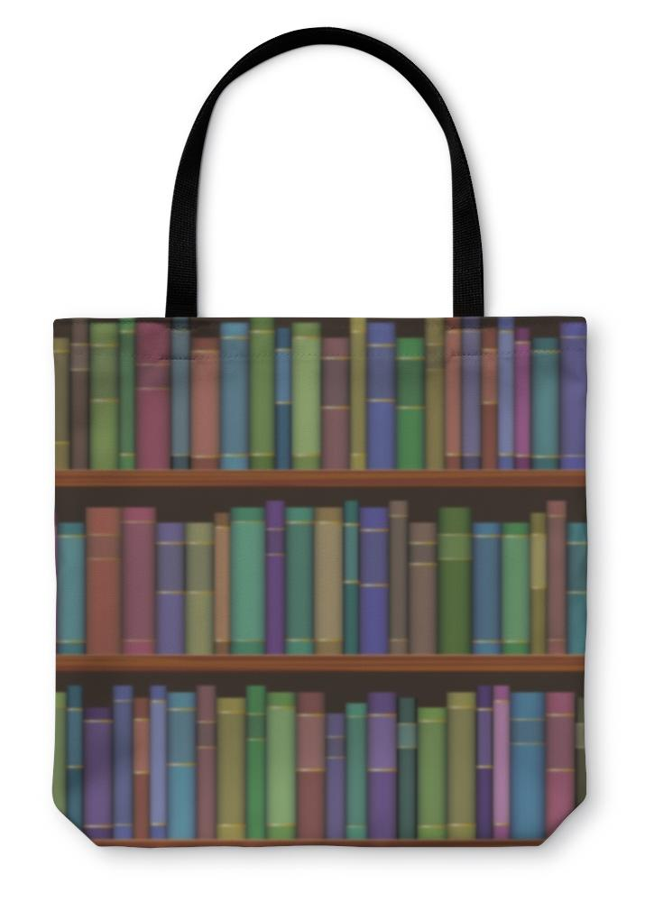 Tote Bag, Library Shelves With Old Books - Olanquan's Fashion Boutiques