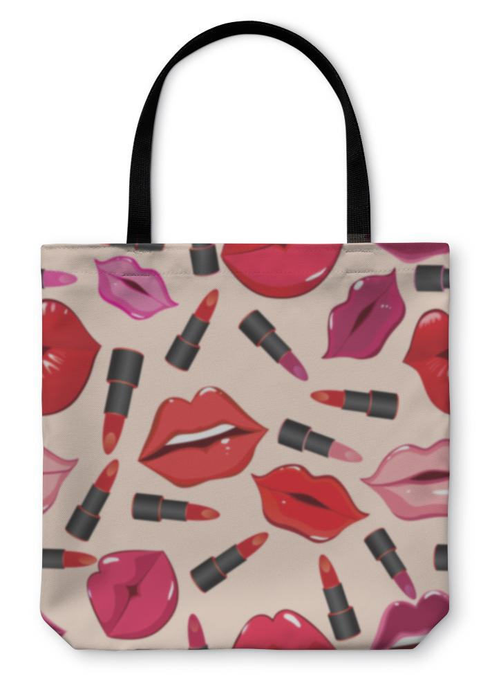 Tote Bag, Pattern Print Of Lips - Olanquan's Fashion Boutiques