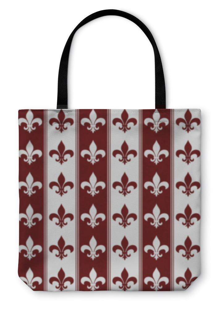 Tote Bag, White And Red Fleur De Lis D Fabric - Olanquan's Fashion Boutiques
