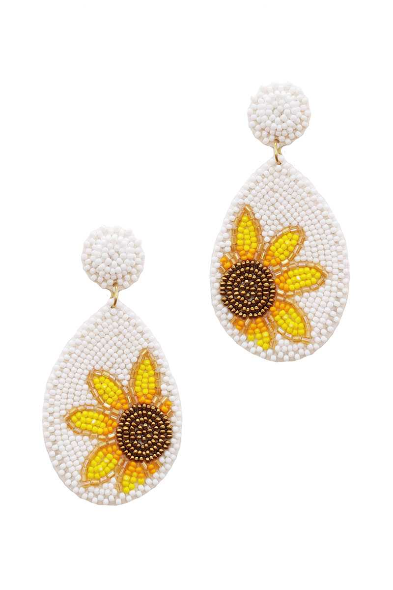 Trendy Seed Bead Tear Drop Flower Earring - Olanquan's Fashion Boutiques