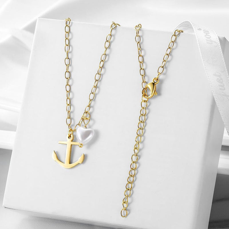 Vintage Anchor Heart-shaped Pearl Pendant Necklace - Olanquan's Fashion Boutiques