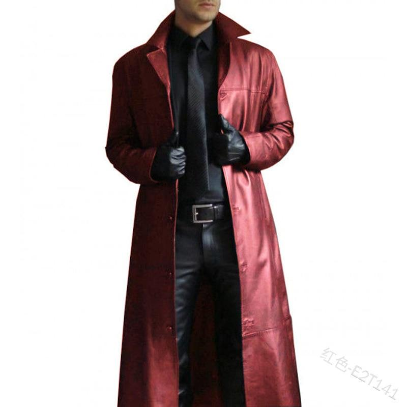 WEPBEL Fashion Men Medieval Steampunk Long Leather Jackets Vintage Autumn Winter Outerwear Faux Leather Trench Coat Cardigans - Olanquan Fashion Boutique