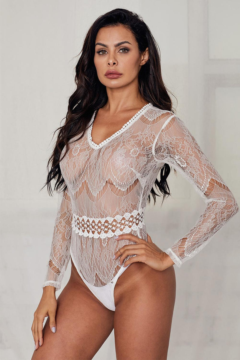 White Sheer Lace Long Sleeve Bodysuit - Olanquan's Fashion Boutiques