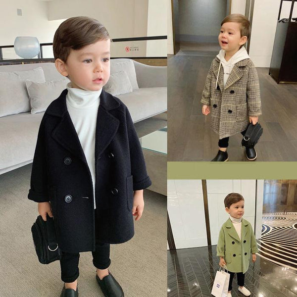 Winter Grid Jackets Boys girls Woolen Double-breasted Baby Boy Trench Coat Lapel Kids Outerwear Coats Wool Coat Winter Overcoat - Olanquan Fashion Boutique
