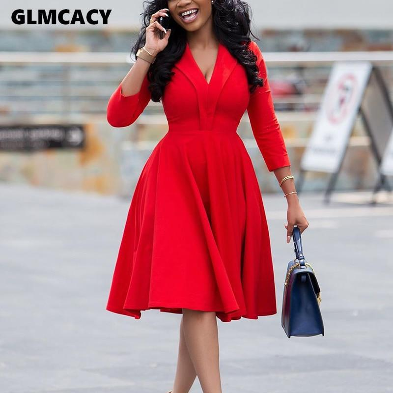 Women Plus Size Long Sleeve V-neck Dress Solid Elegant Office Lady Spring Fall Midi Party Dress - Olanquan's Fashion Boutiques