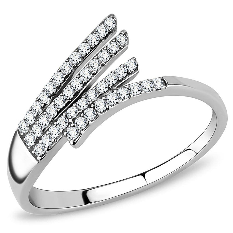 Women Stainless Steel Cubic Zirconia Rings DA043 - Olanquan's Fashion Boutiques