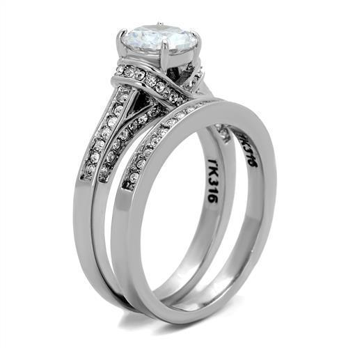 Women Stainless Steel Cubic Zirconia Rings TK1919 - Olanquan's Fashion Boutiques