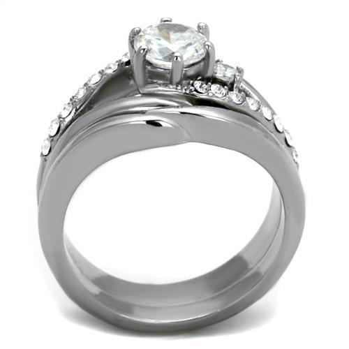 Women Stainless Steel Cubic Zirconia Rings TK2118 - Olanquan's Fashion Boutiques