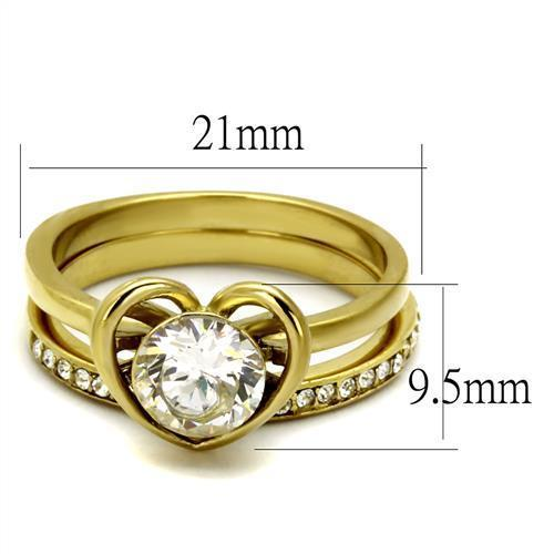 Women Stainless Steel Cubic Zirconia Rings TK2295 - Olanquan's Fashion Boutiques