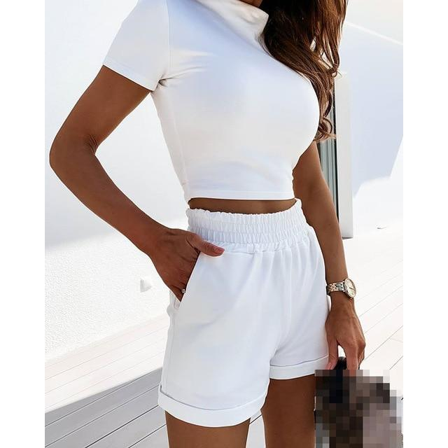Women Summer Sexy Two Pieces Set Solid Short Sleeve Crop Tops And Elastic Waist Shorts Ladies Casual Slim Tracksuit SJ5993M - Olanquan's Fashion Boutiques