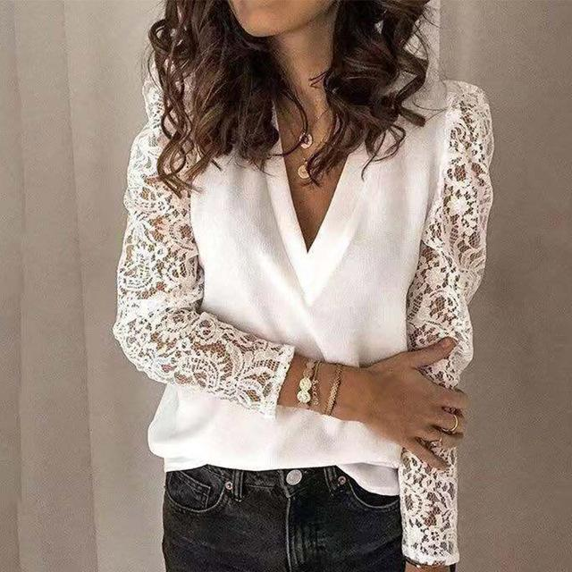 Women V-neck Lace Hollow Out Blouse Patchwork Long Sleeve White Office Ladies Blouses 2020 Summer Casual Solid Female Tops - Olanquan's Fashion Boutiques