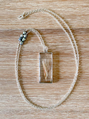 "30"" Framed Rectangle Silver Pendant Necklace - Bushy Bluestem"
