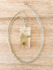 "30"" Frameless Rectangle Silver Necklace - Pennywort"