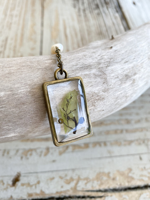 "30"" Framed Rectangle ""Y"" Pendant Necklace - Seaweed Mix"