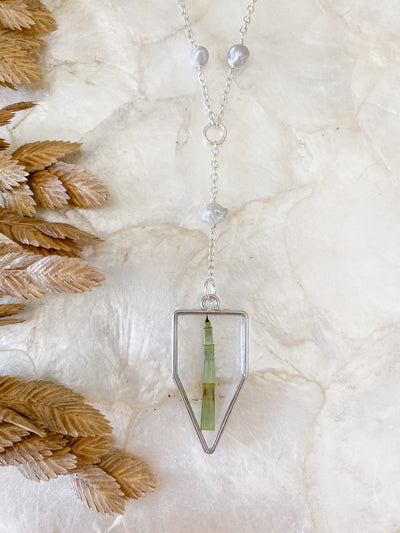 "30"" Silver Framed ""Y"" Pendant Necklace - Horsetail"
