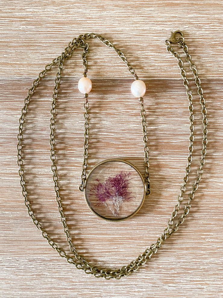 "30"" Framed Circle Pendant Necklace - Gelidium"