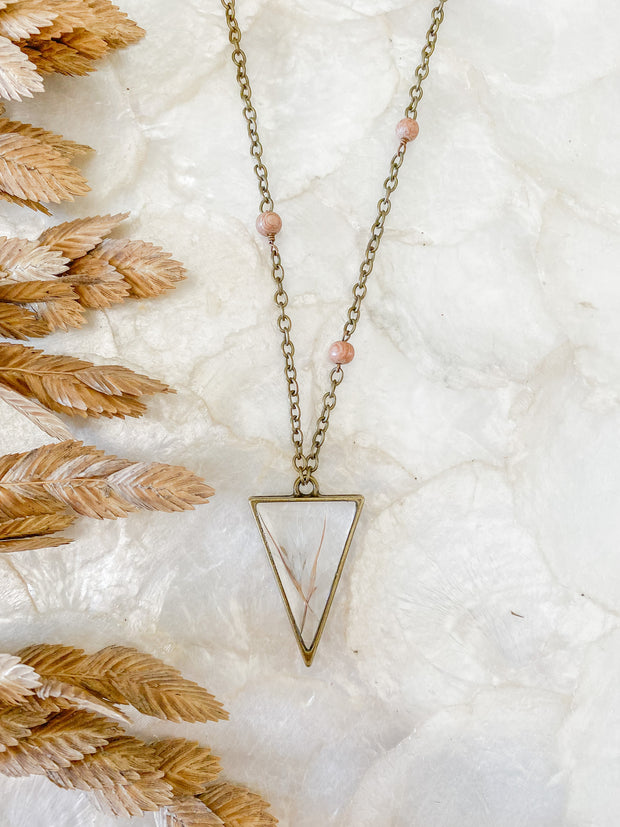 "30"" Brass Framed Triangle Pendant Necklace - Bushy  Bluestem"