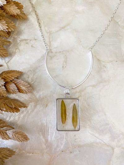 "30"" Framed Rectangle Pendant Necklace - Halophila"