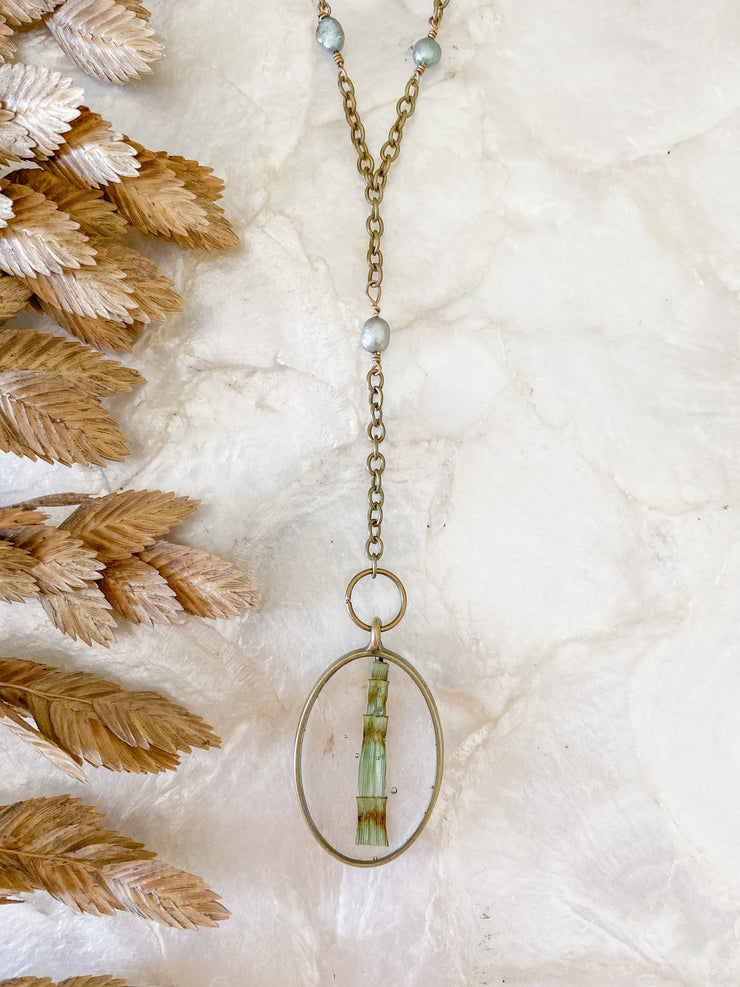 "30"" Framed Oval ""Y"" Pendant Necklace - Horsetail"
