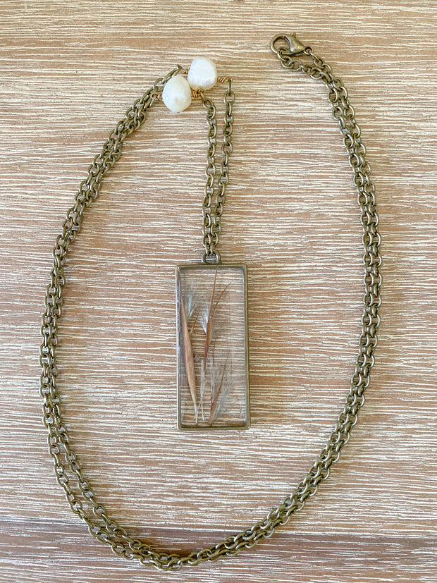 "30"" Brass Framed Rectangle Pendant Necklace - Bushy  Bluestem"