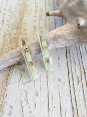 Frameless Rectangle Resin Earrings - Horsetail