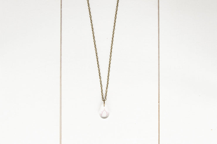 "30"" Frameless Tiny Teardop Pendant Necklace"