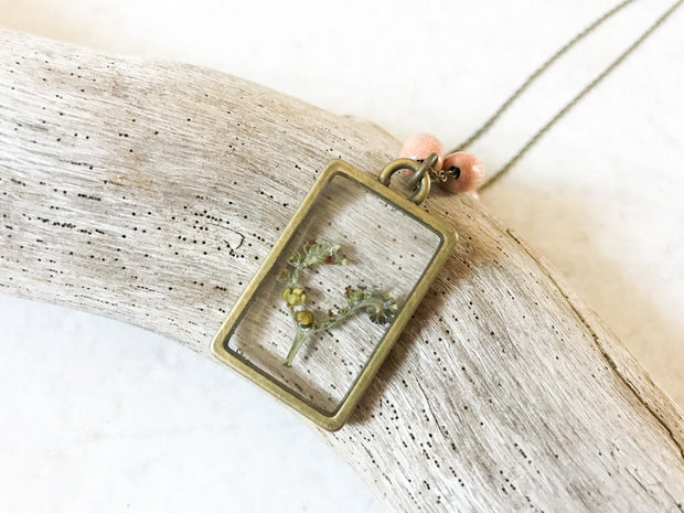 "26"" Framed Rectangle Dainty Pendant Necklace"