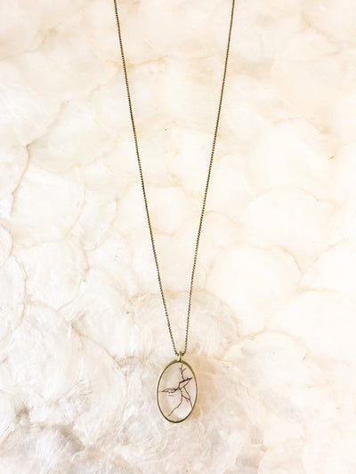 "30"" Framed Oval Pendant Necklace"