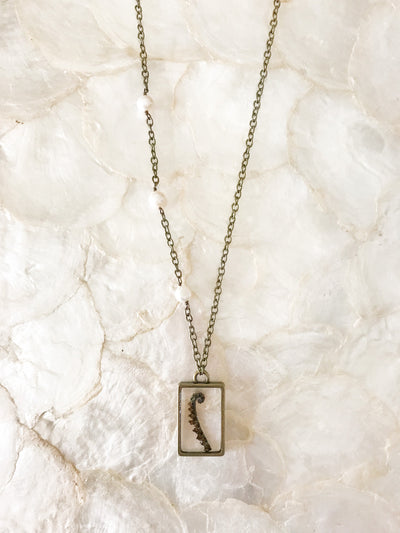 "30"" Framed Rectangle Pendant Necklace"