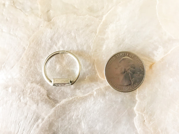 Silver Marine Algae Resin Ring - Size 5/6