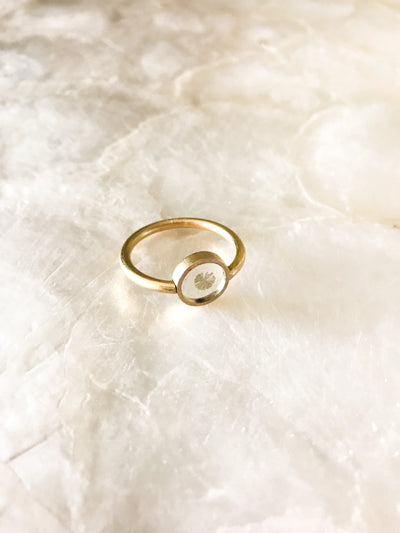 Gold Marine Algae Resin Ring - Size 7/8