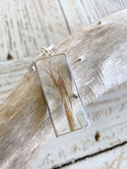 Silver Rectangle Resin Keychain - Bushy Bluestem
