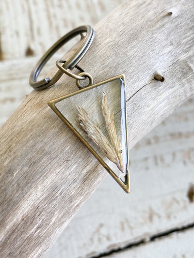 Brass Triangle Resin Keychain - Spartina
