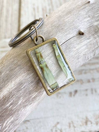 Brass Rectangle Resin Keychain - Horsetail