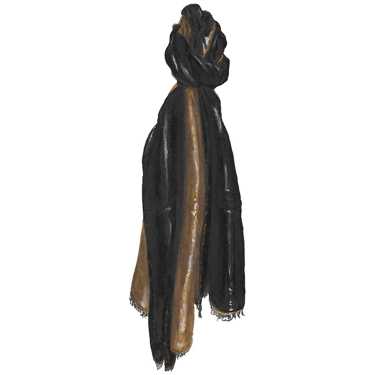 Gold Black Payal Scarf
