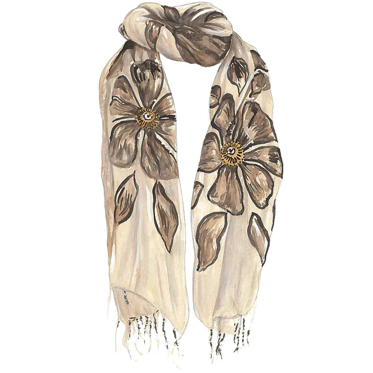 Fringed Flower Scarf