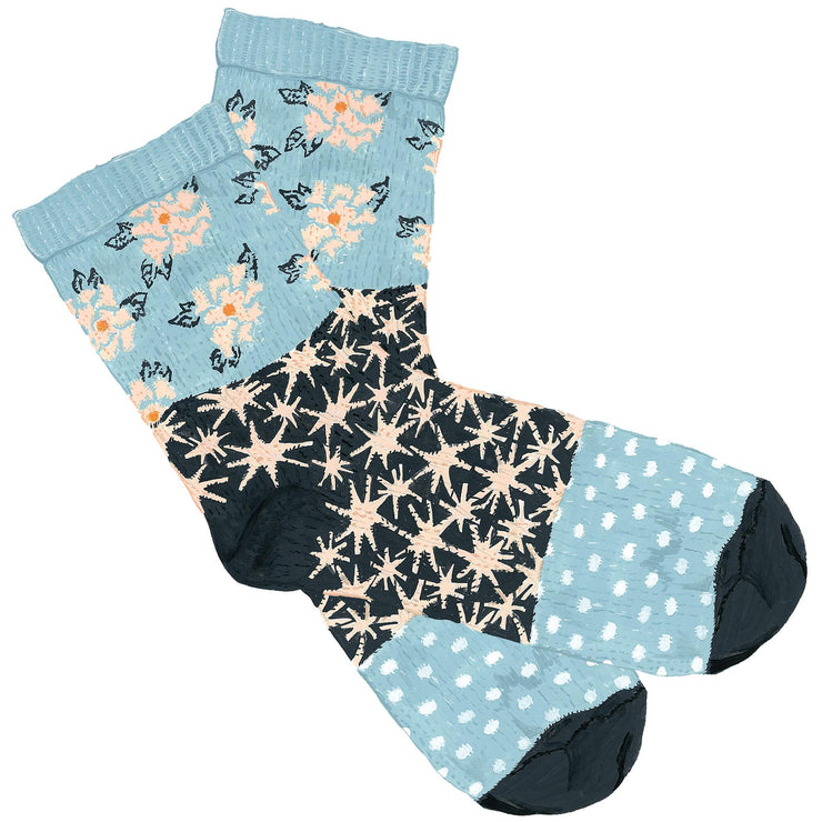 Patterned Patchwork Cotton Socks