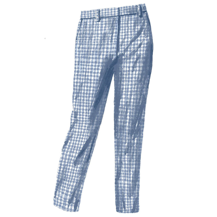 Blue and White Gingham Pant