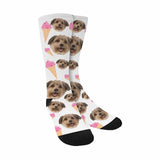 Custom Dog's Face & Ice Cream Print Socks