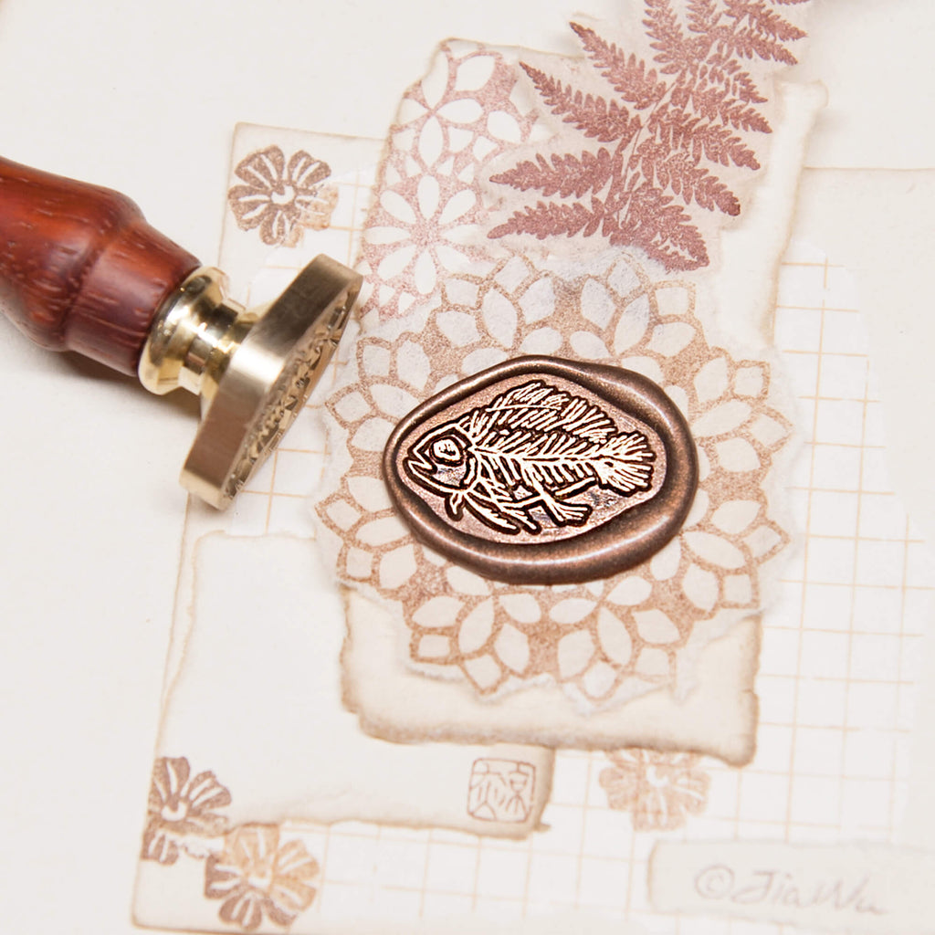 Fish fossil original vintage wax seal stamp