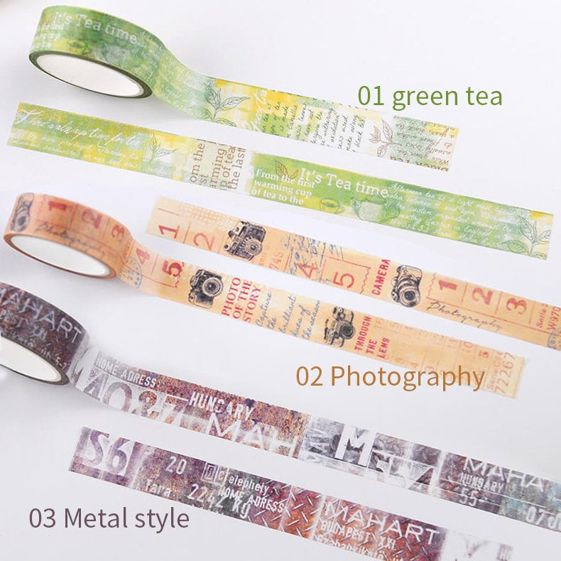 Original vintage Metal style/retro washi tape/ photography/green tea