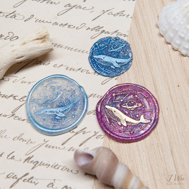 The blue whale vintage original wax seal stamp