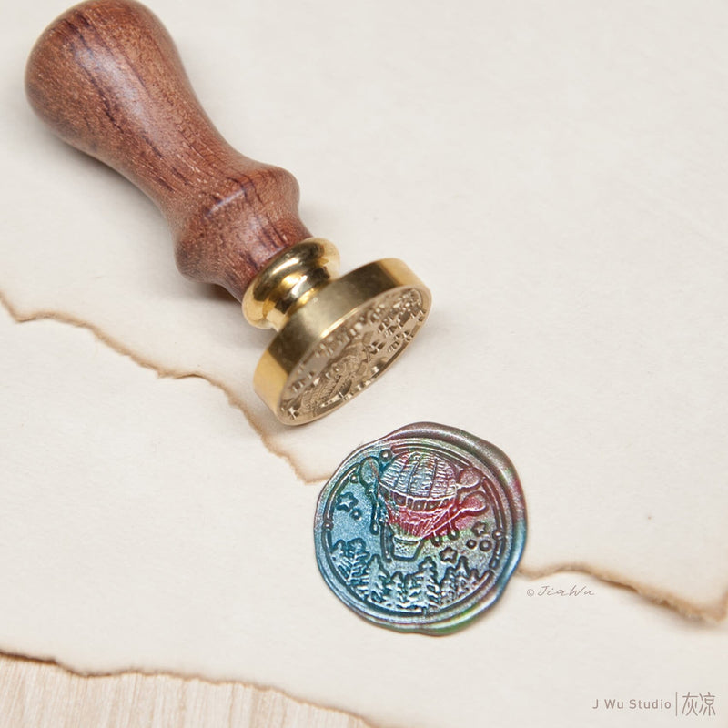 Hot air balloon original vintage wax seal stamp / love travel