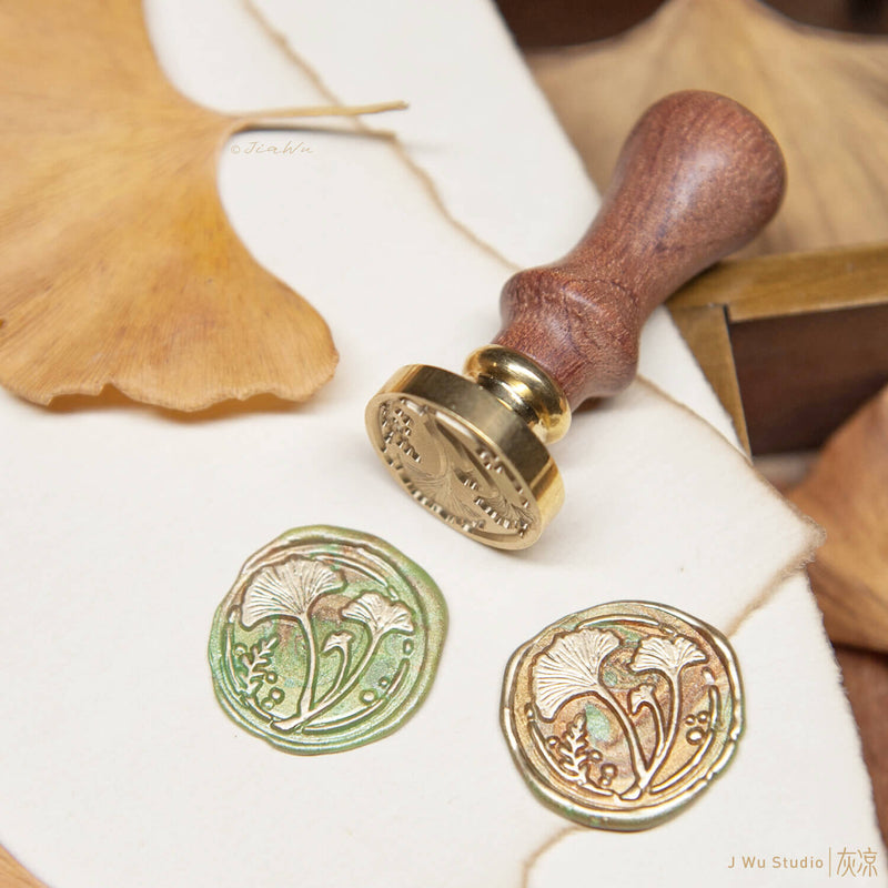 Ginkgo Leaves original vintage wax seal stamp