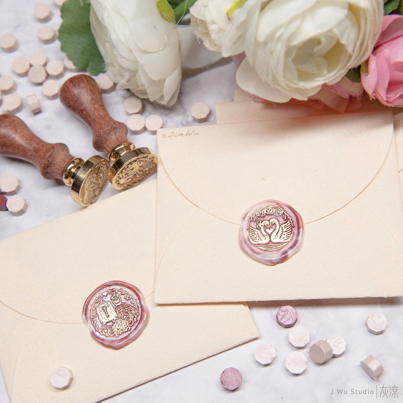 Wedding original wax seal stamp / Swan / Gown and Tuxedo