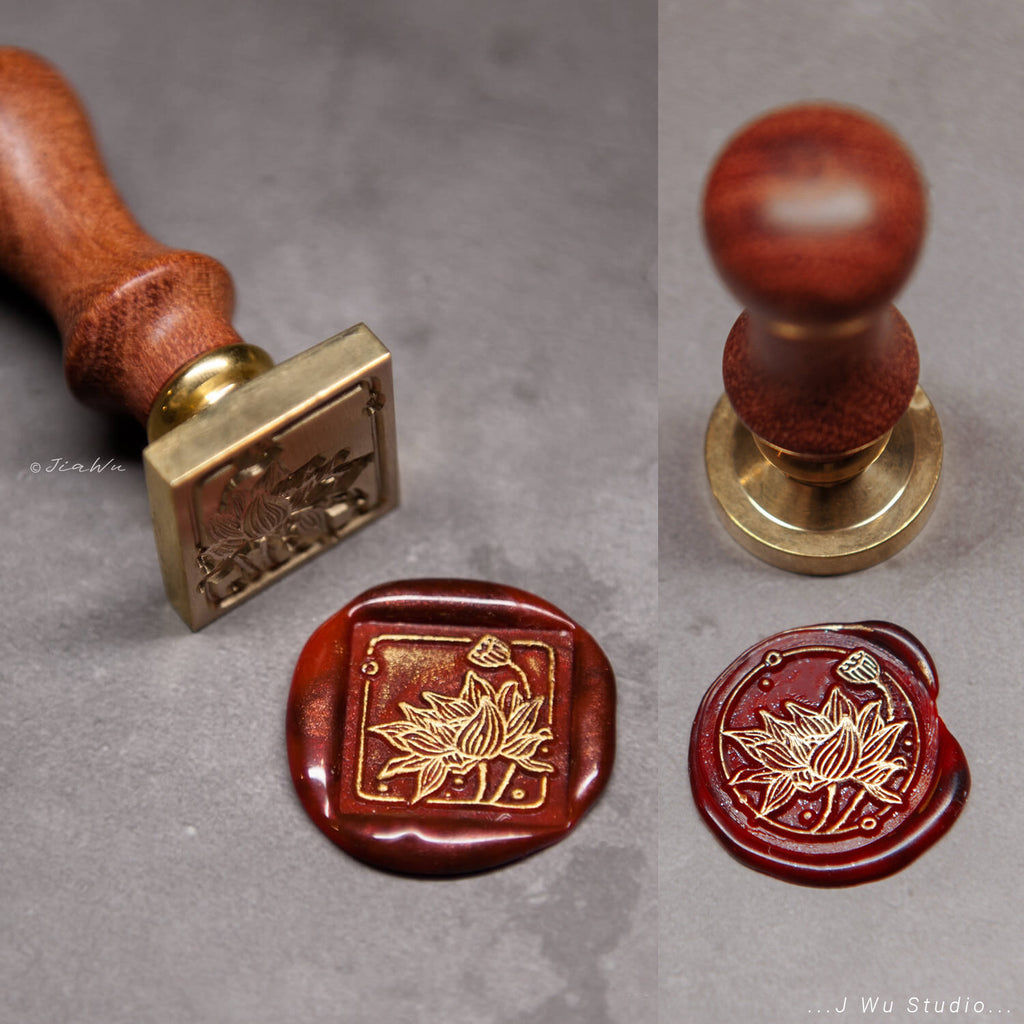 Lotus Flower original vintage wax seal stamp / square/round